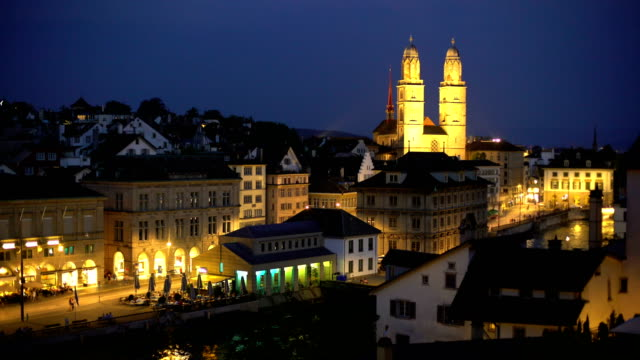 Zurich Skyline with Grossmünster by night