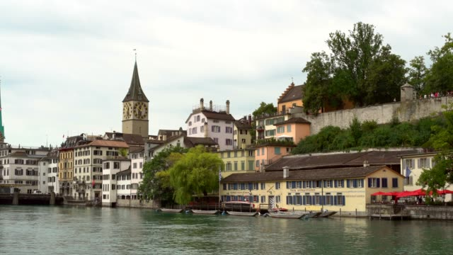 Zurich Skyline with River Limmat, panning