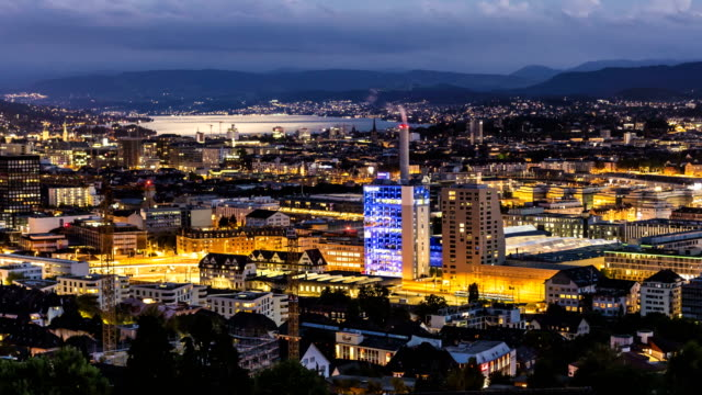 zurich skyline with river limmat, time lapse - panning stock videos & royalty-free footage