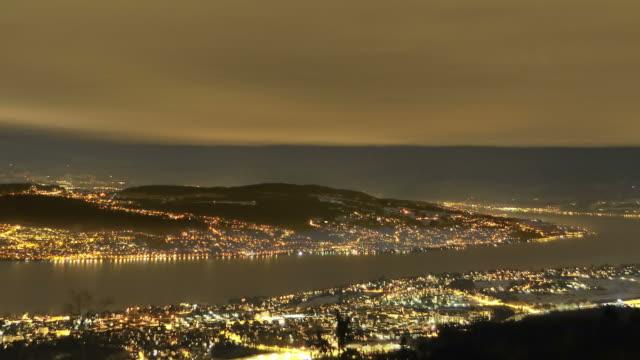 Zurich, Zurich lake at night, weather change, moon rising