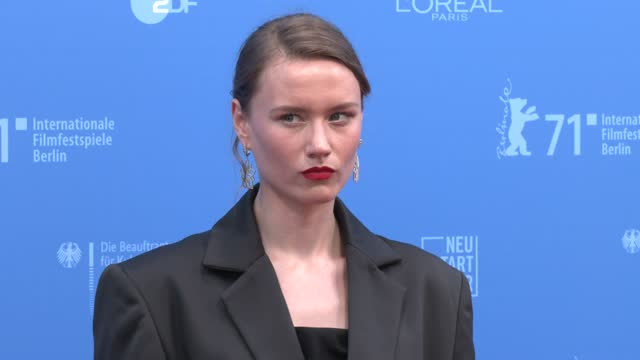 "zygimant elena jakstaite attends the european shooting stars awards and ""ich bin dein mensch"" premiere during the 71st berlinale international film... - celeb stock videos & royalty-free footage"